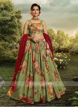 Organza Flower Printed Lehenga Choli In Green