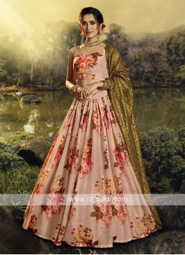Organza Flower Printed Lehenga Choli In Peach