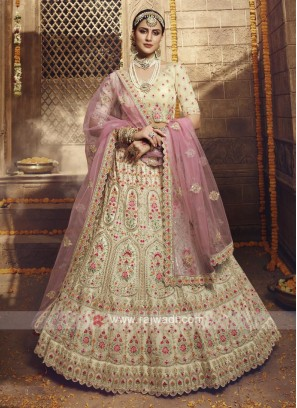 Organza Lehenga Choli In Cream Color
