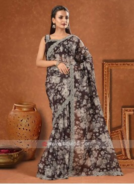 Organza printed sarees in black color