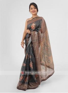 Organza Saree With Sequins Work In Dark Grey