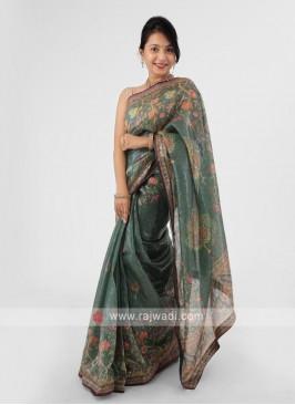 Organza Sequins And Printed Saree