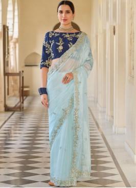 Organza Sequins Blue Classic Designer Saree