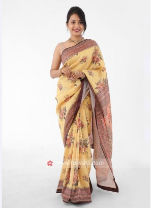 Organza Yellow Saree With Sequins Work