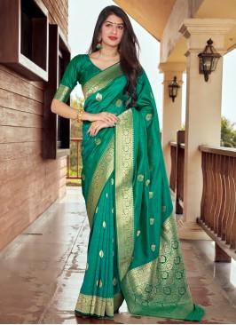 Orphic Silk Green Designer Traditional Saree