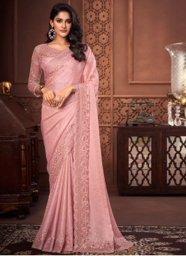 Outstanding Pink Patch Border Designer Saree