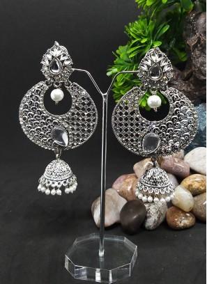 Oxdized Stone Jhumki Earrings