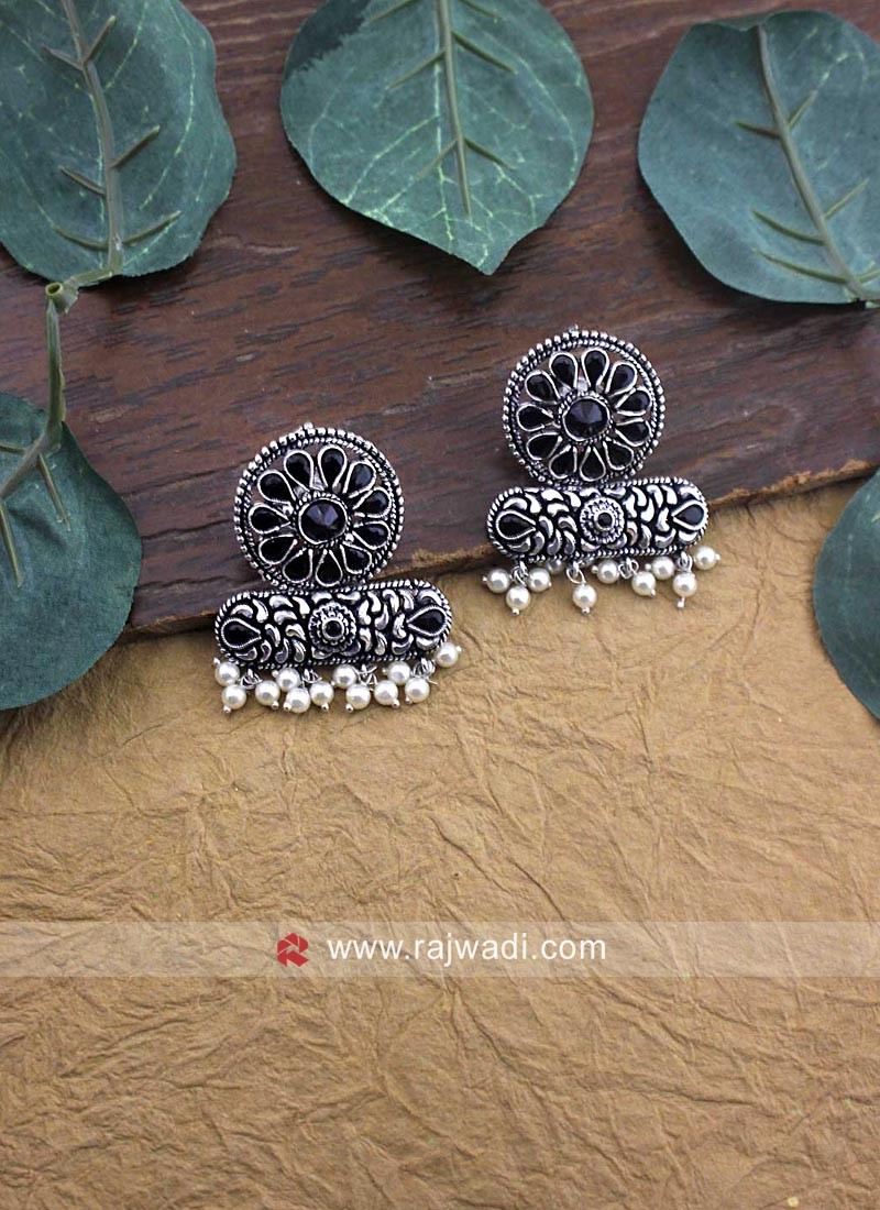 Oxidize Metal Work Earrings