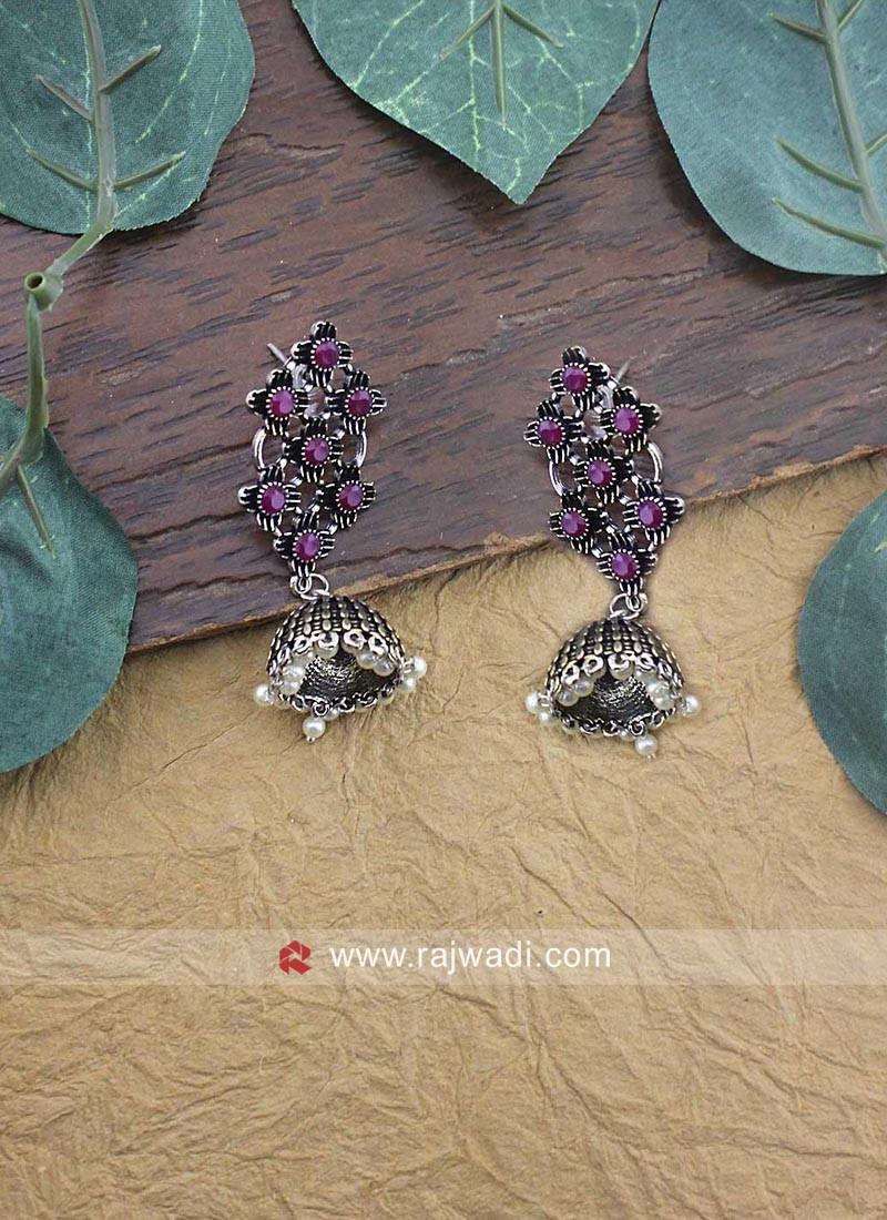 Oxidize Silver Jhumki Earrings