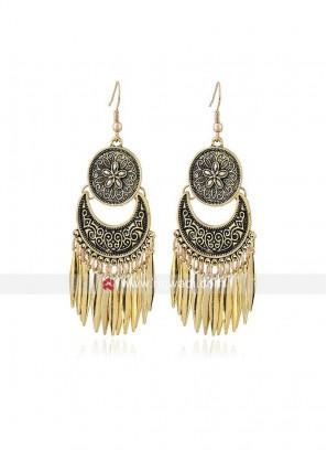 Oxidized Gold Long Lotus Earrings