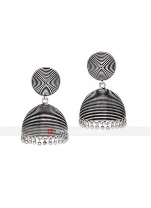 Oxidized Silver Jhumka Earrings