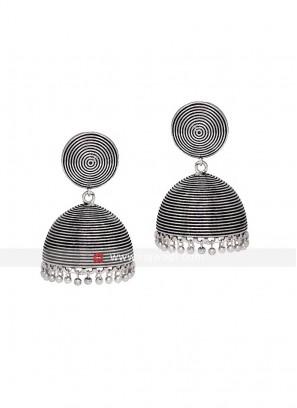 Oxidized Silver Jhumka Earrings