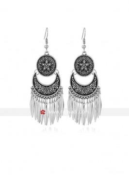 Oxidized Silver Long Lotus Earrings
