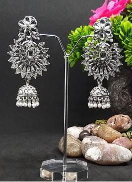 Oxidized Stone Jhumki Earrings