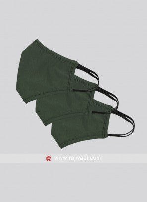 Pack Of 3 Dark Olive Green Mask With SSMMS Filter
