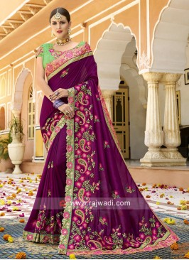 Paisley Embroidered Designer Saree
