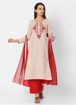 Red And Beige Color Cotton Palazzo Suit