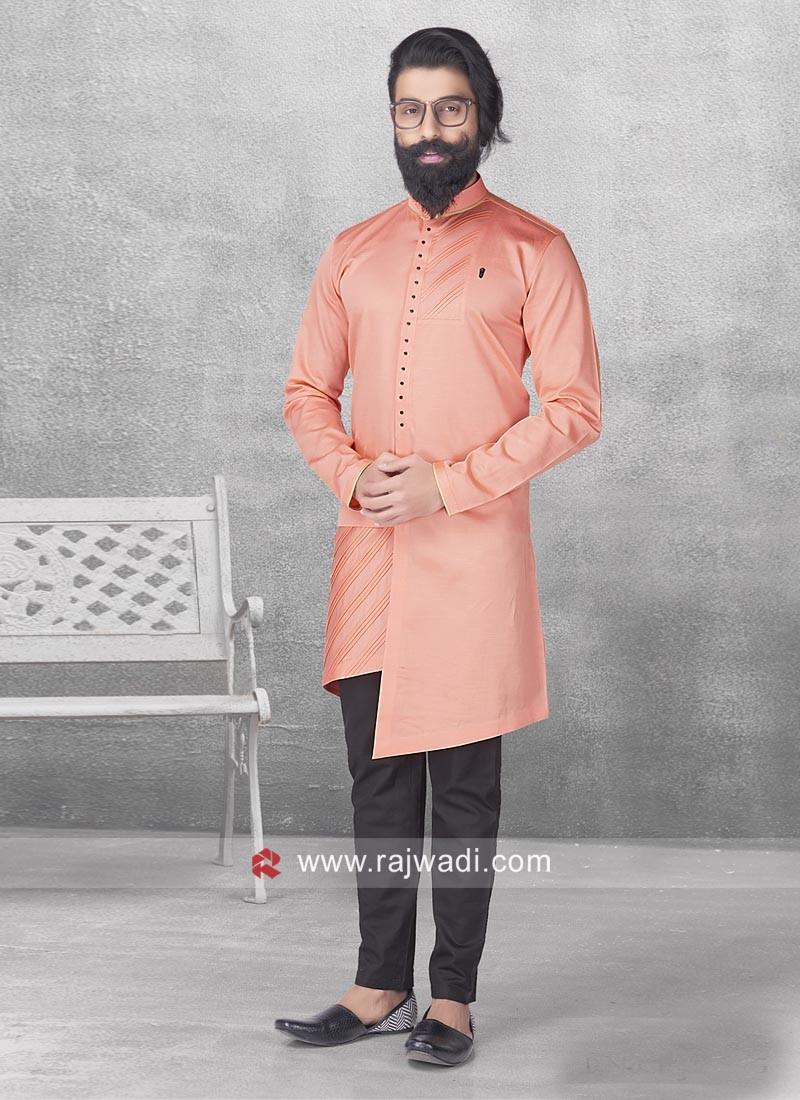 Cotton Satin Peach Color Pathani