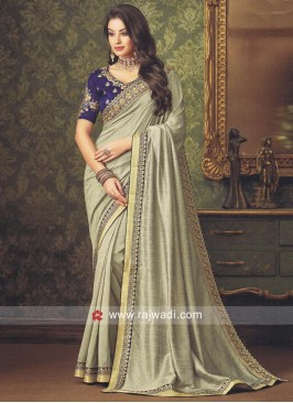 Pale Grey Border Work Saree