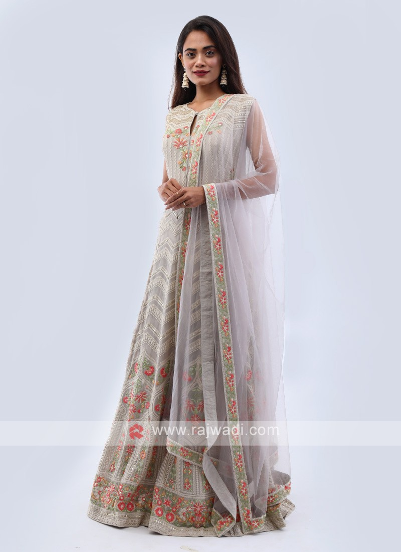 Pale grey chiffon anarkali suit