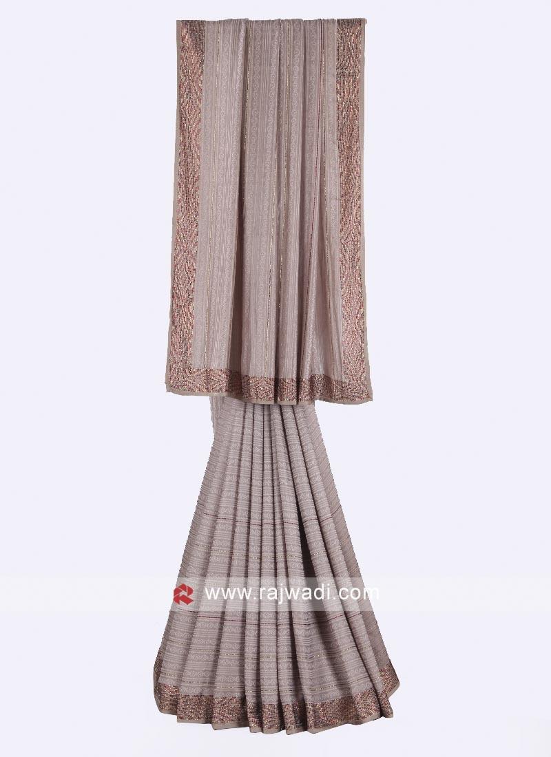 Pale grey crepe silk saree