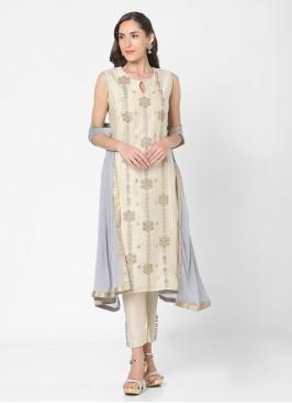 Pant Style Chanderi Suit In Beige Color