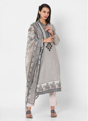 Pant Style Cotton Jute Suit In Light Beige Color