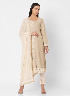 Pant Style Cotton Suit In Khaki Color