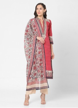Pant Style Indian Red And Beige Color Suit