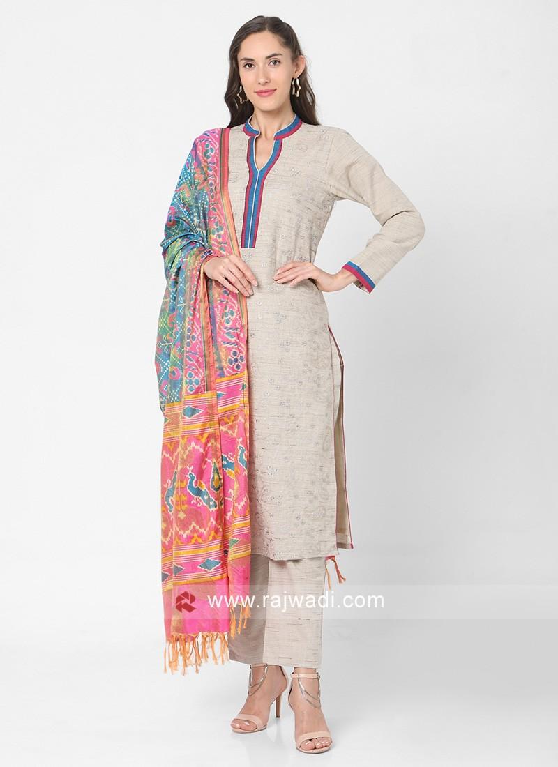 Pant Style Cotton Khadi Suit In Beige Color