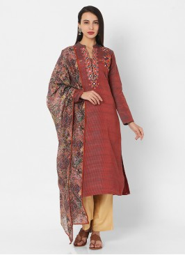 Pant Style Suit In Maroon And Beige Color
