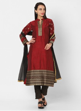 Pant Style Suit In Maroon And Black Color
