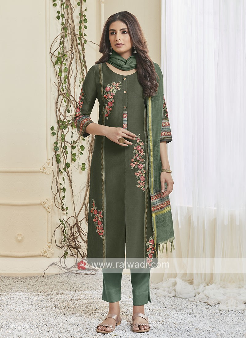 Shagufta Pant Salwar Suit In Green