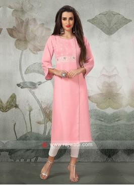 Paper Silk Kurti in Light Pink