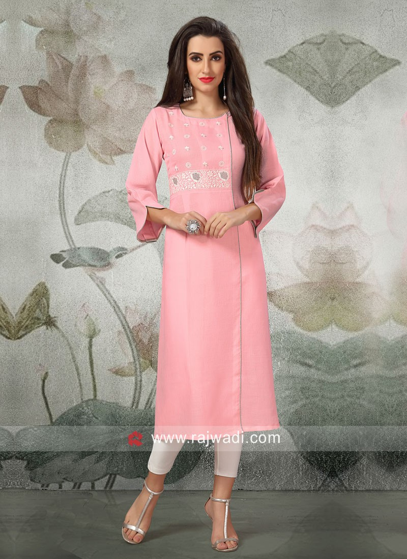 Paper Silk Kurti in Light Pink