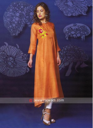 Paper Silk Light Orange Kurti