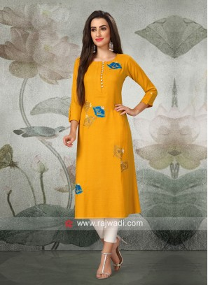 Paper Silk Three Quarter Sleeves Kurti