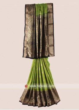 Parrot Green and Black Woven Saree
