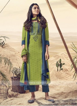 Shagufta Parrot Green And Blue Pant Salwar Suit