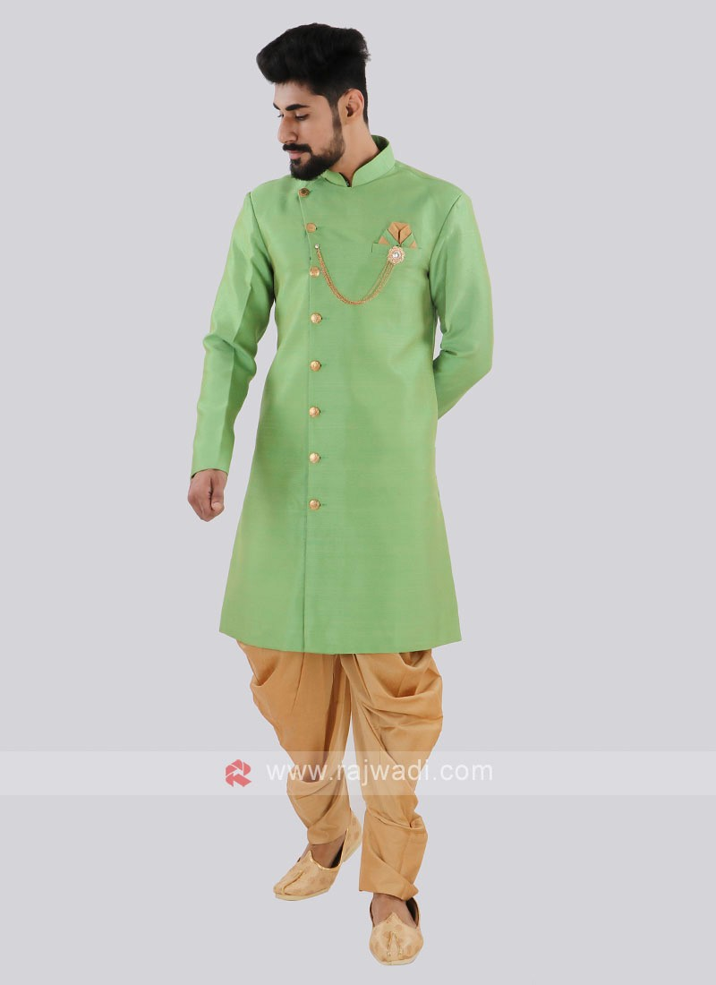 Parrot Green And Golden Indo Western