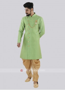 Parrot Green And Golden Patiala Suit