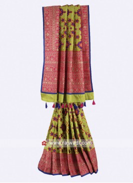 Parrot green and pink color art silk saree
