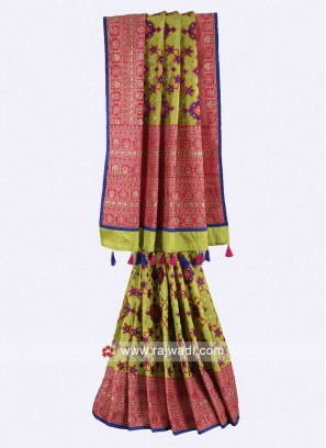 Parrot green and pink color art silk saree