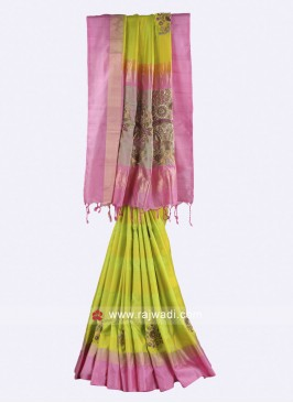 Parrot green and pink  Saree