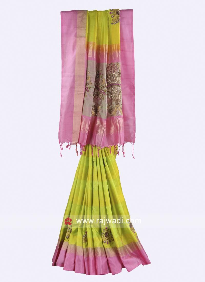 Parrot green and pink  Saree