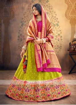Mehndi Green And Rani Color Silk Lehenga Choli