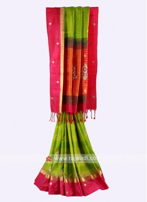 Parrot green and rani pure silk  Saree
