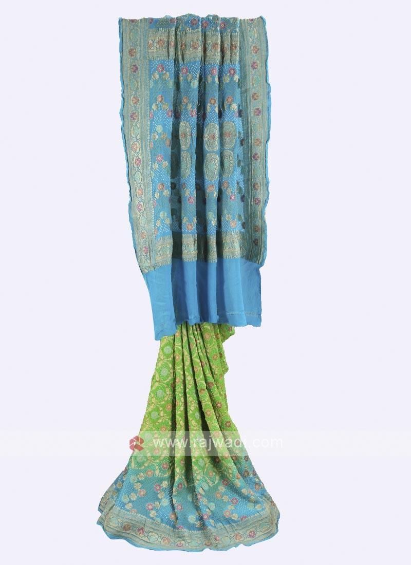 Parrot green and sky blue chiffon saree