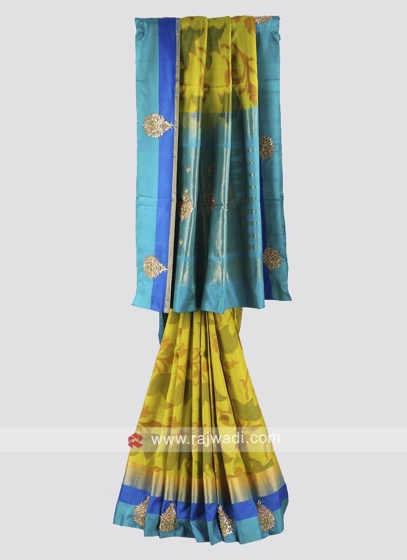 Parrot green and sky blue pure silk saree