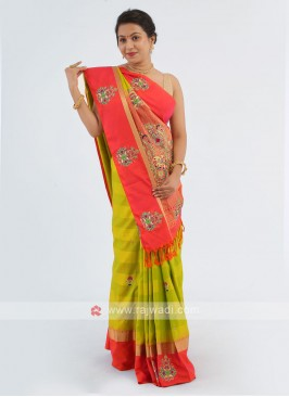 Parrot Green And Tomato Color Silk Saree